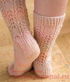 ажурные вязаные носки