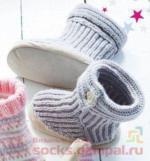 вязаные тапочки для детей вязаные носки