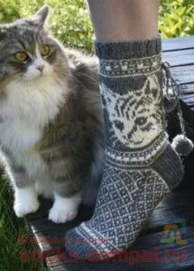 носки с кошкой